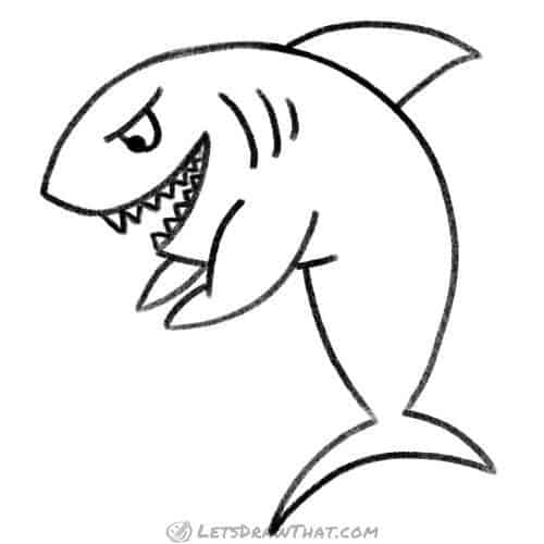How to draw a shark in the cartoon style: completed outline