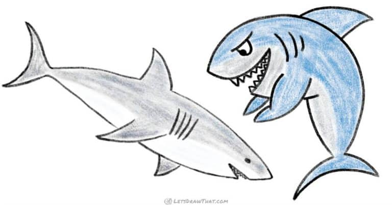 How to draw a shark – one simple and one cartoon style - step-by-step-drawing tutorial featured image