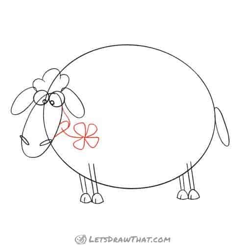 Drawing step: Draw the sheep's mouth