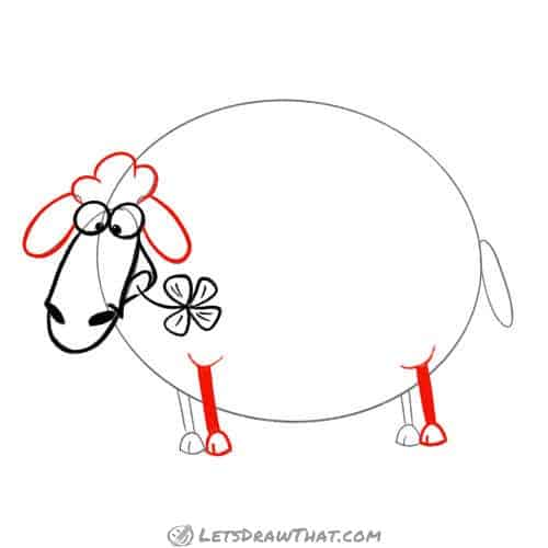 Drawing step: Draw the sheep's hairdo, ears and front legs