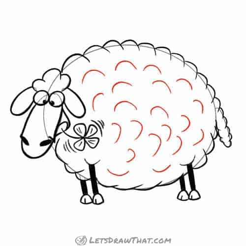 Drawing step: Draw the wool fleece texture