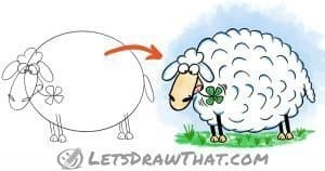 How to draw a sheep - easy and cute cartoon style - step-by-step-drawing tutorial featured image