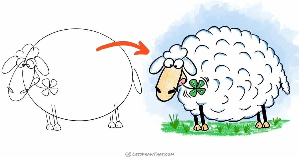 How To Draw A Sheep: Cute Funny Cartoon Style Sheep Drawing - step-by-step-drawing tutorial featured image