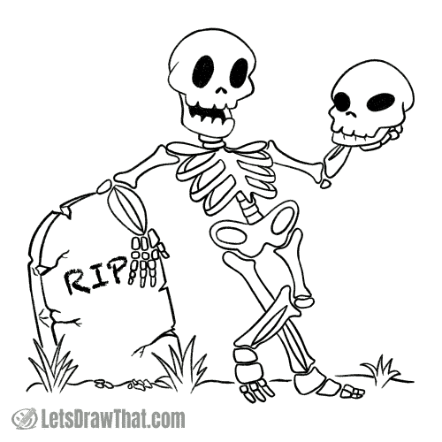 How to draw a skeleton: finished outline drawing