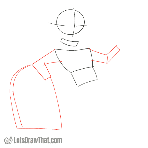 Drawing step: Sketch the arms and tombstone