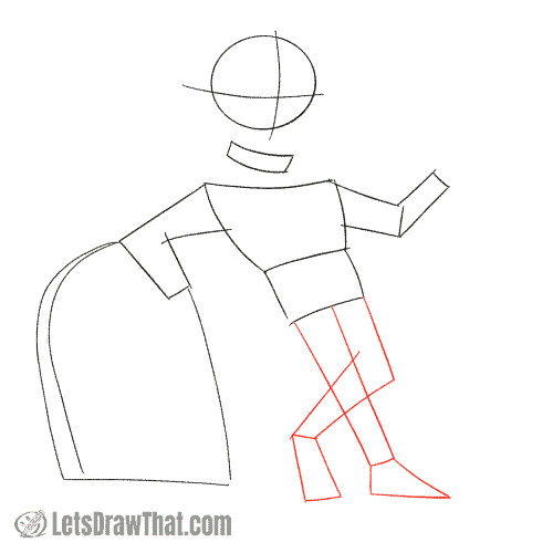 Drawing step: Sketch the legs