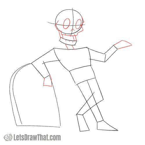 Drawing step: Draw the skeleton's face and hands