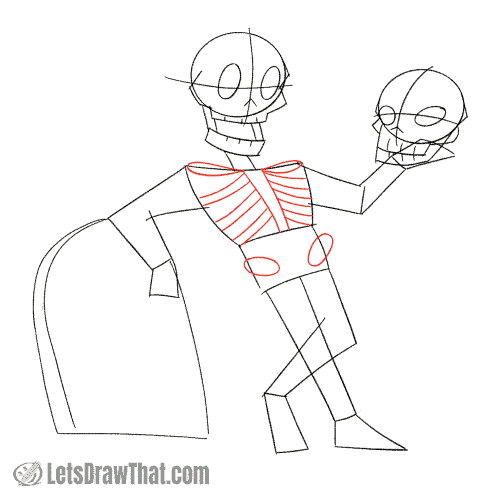 Drawing step: Draw the ribs and the pelvis cut out