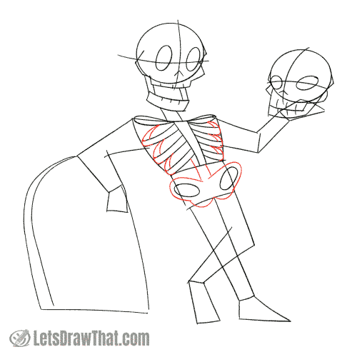 Drawing step: Draw the back of the ribs and the pelvis