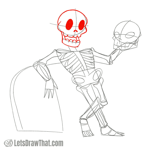 Drawing step: Draw the skeleton's skull