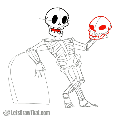 Drawing step: Draw the second skull