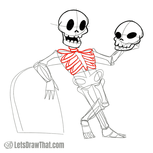 Drawing step: Draw the skeleton's rib cage and neck