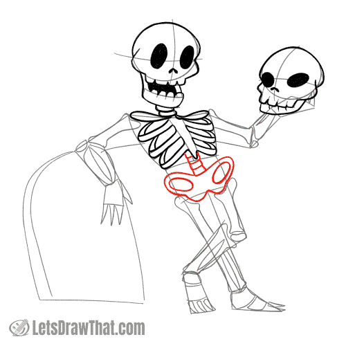 Drawing step: Draw the skeleton's pelvis and spinal column