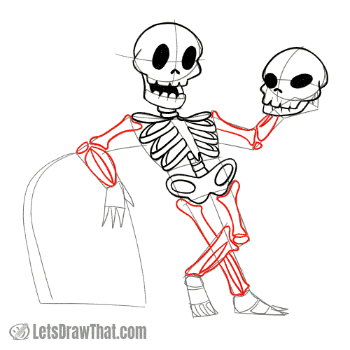 Drawing step: Draw the skeleton's limbs