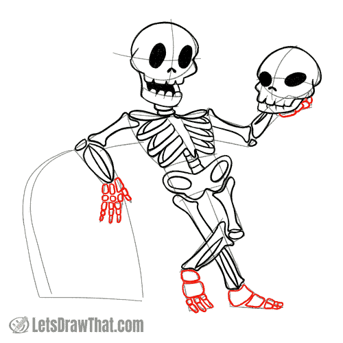 Drawing step: Draw the hands and foot bones