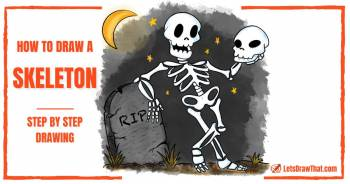 How To Draw a Skeleton - An Easy Cartoon Skeleton Drawing - step-by-step-drawing tutorial featured image