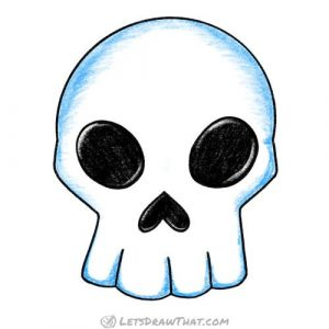How to draw a skull: completed coloured in drawing