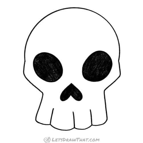 How to draw a skull: completed outline drawing