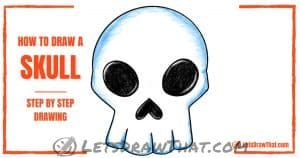 How to draw a skull - an easy simplified front view - step-by-step-drawing tutorial featured image