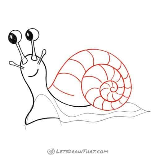 Drawing step: Draw the snail's shell