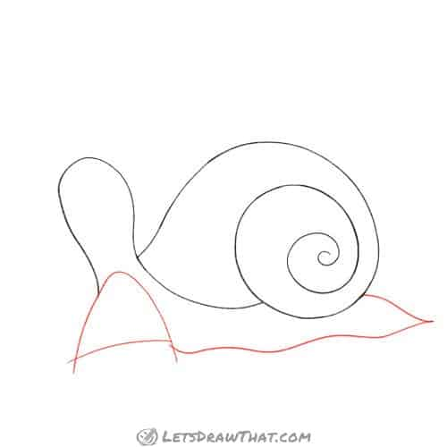 Drawing step: Draw the snail's foot