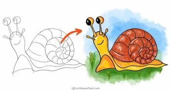 How To Draw A Snail: A Really Cute Snail Drawing - step-by-step-drawing tutorial featured image