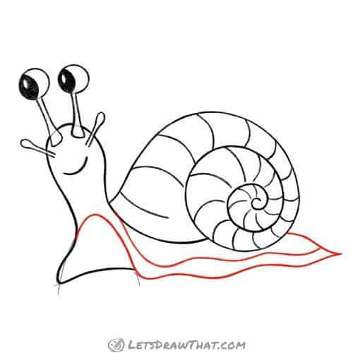 Drawing step: Draw snail's foot
