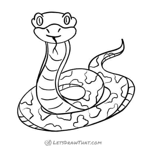 How to draw a snake - complete outline drawing