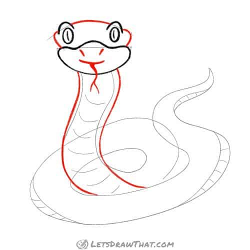 Drawing step: Draw the snake's face and raised body