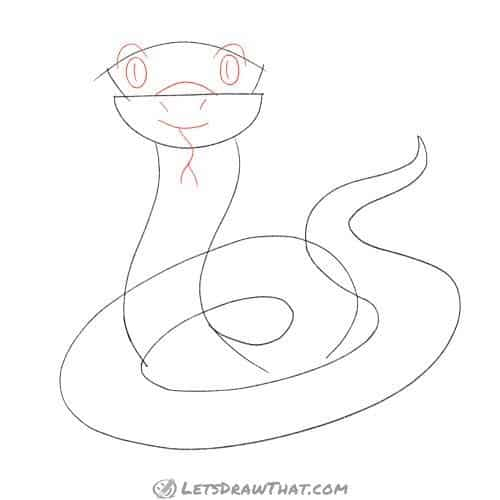 Drawing step: Sketch the snake's face