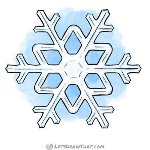 How to draw a snowflake: finished drawing coloured-in