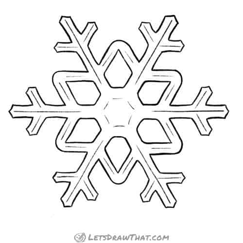 How to draw a snowflake - complete outline drawing