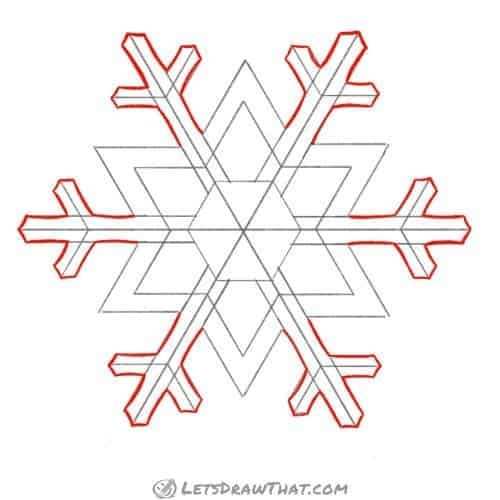Drawing step: Draw the snowflake outer arms