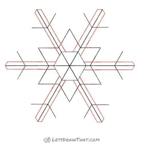 Drawing step: Double up the main snowflake arms