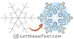 How to draw a snowflake - step-by-step drawing tutorial