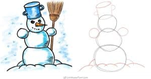 How to draw a snowman: from 3 circles to an awesome snowman - step by step drawing tutorial