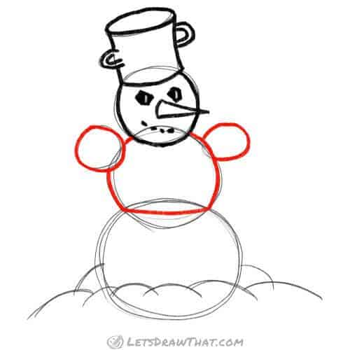 Draw the snowman's arms and body