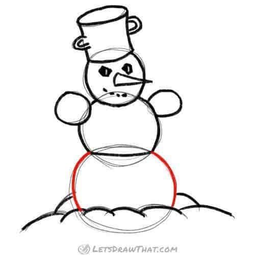 Finish off the snowman's body