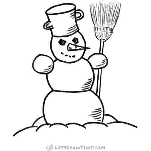 How to draw a snowman: completed outline