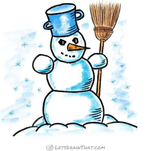 How to draw a snowman: finished coloured-in drawing