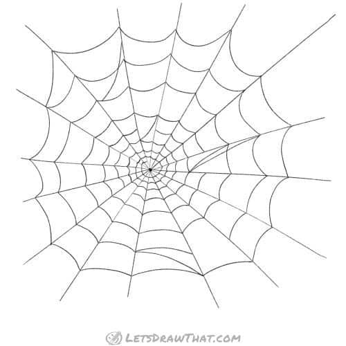 Spider web drawing: completed spider web