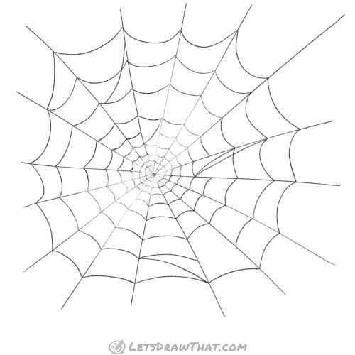 Spider web drawing - completed web