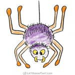How to draw a cartoon spider: finished coloured-in drawing