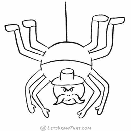 How to draw a humanoid cartoon spider: complete outline