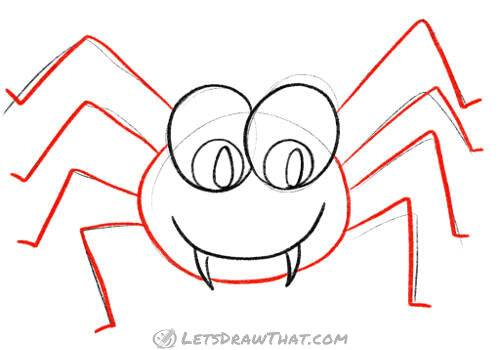 Draw the spider's body and legs
