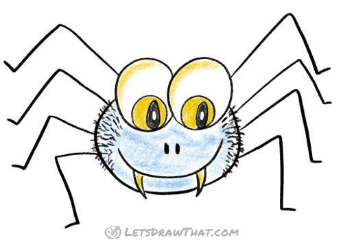 How to draw a simple cute spider​