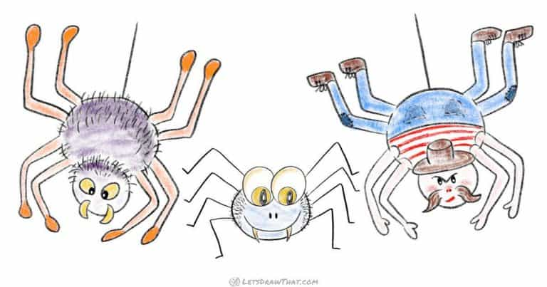 How to draw a spider – simple cartoon style - step-by-step-drawing tutorial featured image