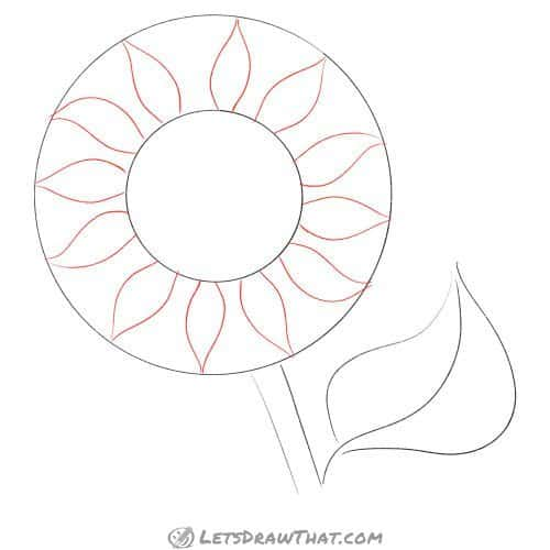 Drawing step: Draw the first layer of sunflower petals