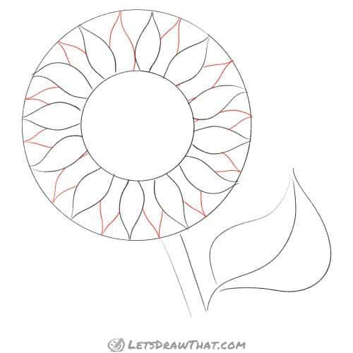 Drawing step: Draw the second layer of petals