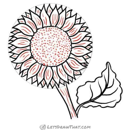 Drawing step: Add some texture to the sunflower